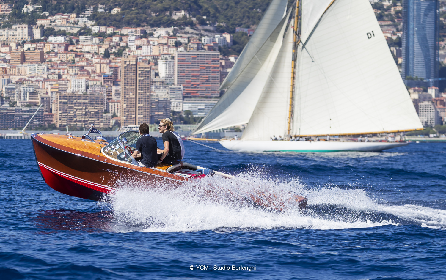 Beautiful classic speed boat on the coast of Monaco for the Monaco Classic Week