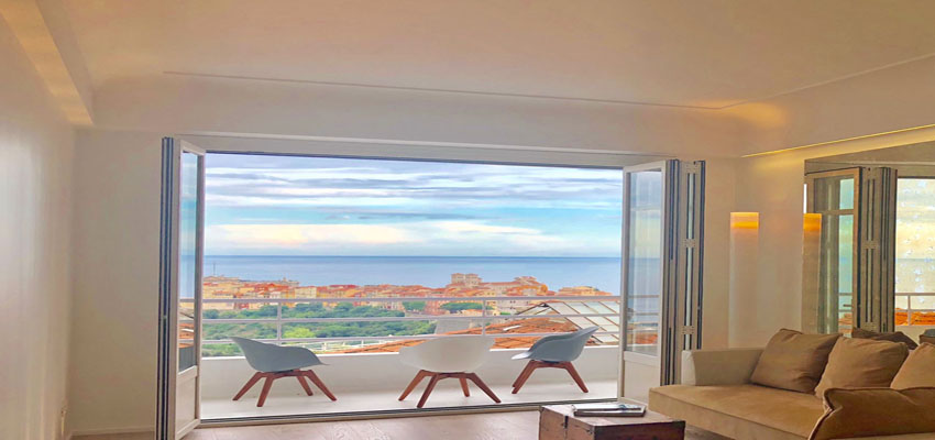 3 roomed apartment in Jardin Exotique with seaview